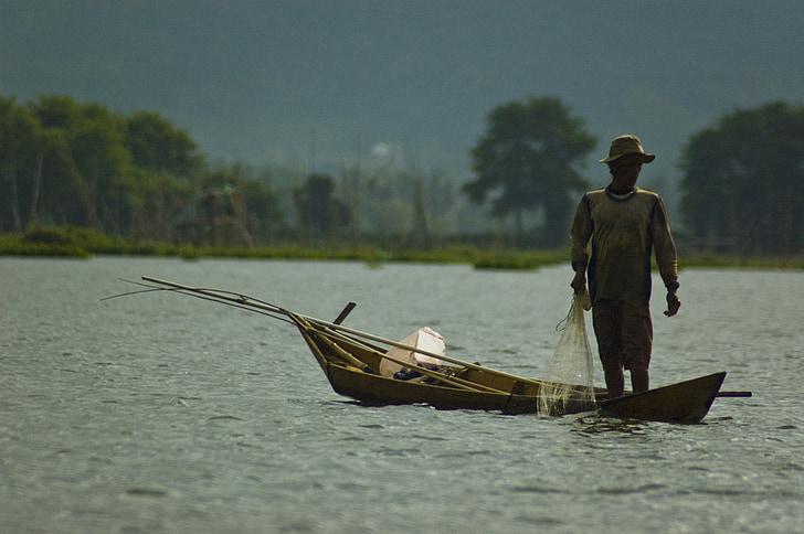 mà d'obra, treballador, pesca, vaixell, treball, pescadors, riu