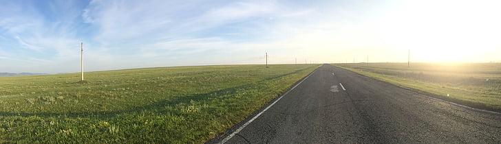 steppe, Khakassie, route, matin, aube, Dim, Panorama