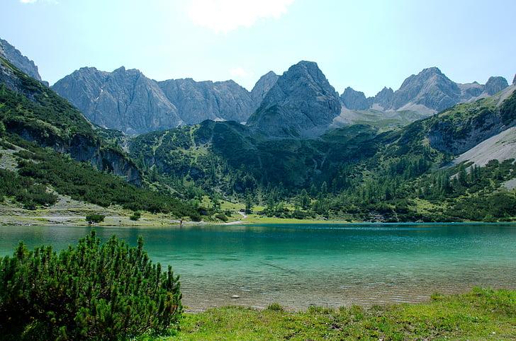 seebensee, alpesi, Ehrwald, bergsee, hegyek, táj, hegyi táj