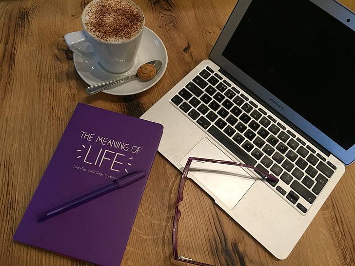 Office, kniha, káva, podnikanie, podnikateľ, laptop, počítač