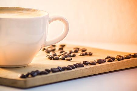 kofeīns, kapučīno, kafijas, kafijas pupiņas, kafijas tasi, kauss, tumša