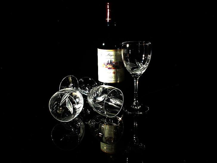 vidre, vi, vi negre, bodegons, Cristall, l'alcohol, beguda