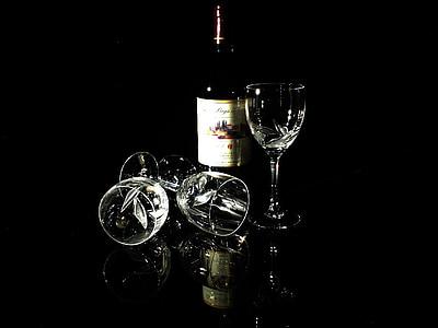 vetro, vino, vino rosso, natura morta, cristallo, alcol, bere
