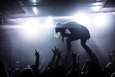 people, man, singing, singer, rock, concert, night