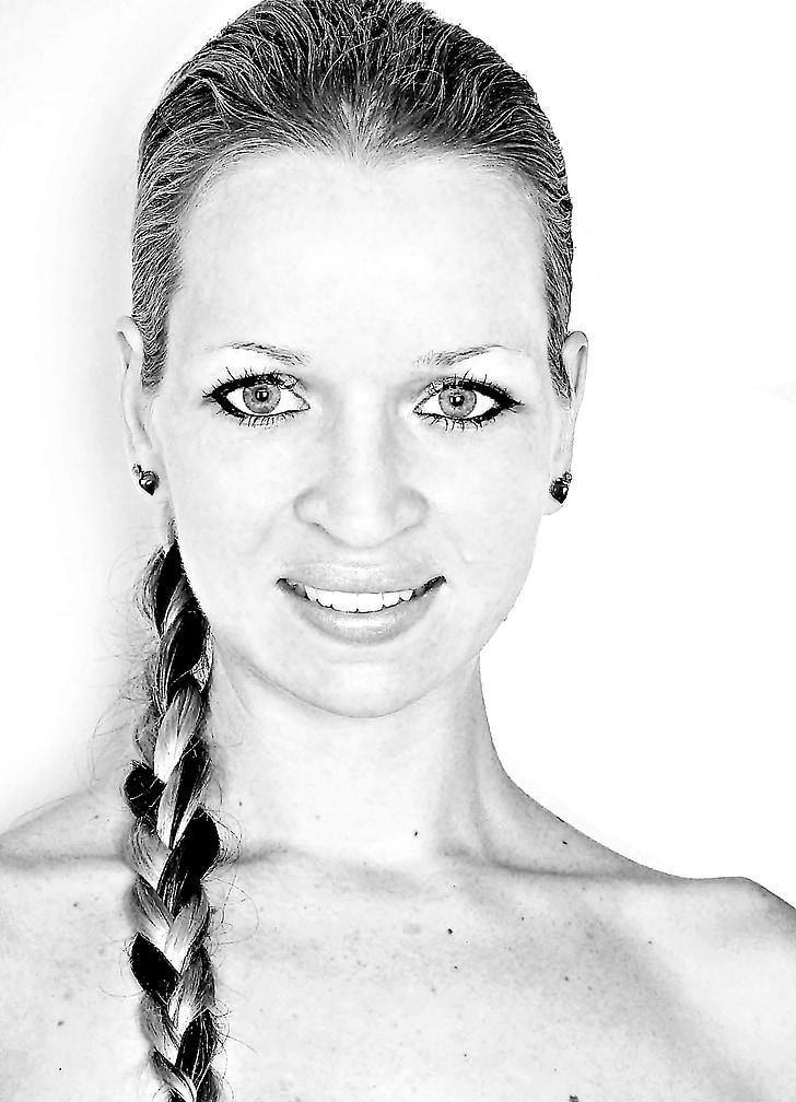 čierna biela, žena, úsmev, pekný, model, tváre