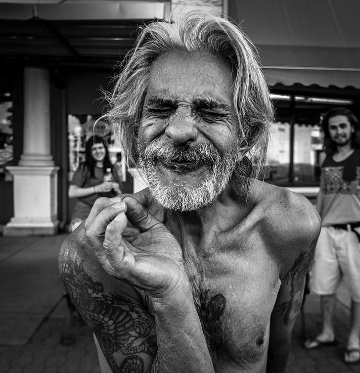 persones, vell, home, negre, blanc, cos, tatuatge