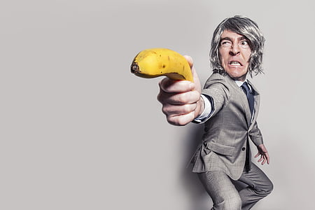 action, adult, angry, arm, banana, designer suit, expression