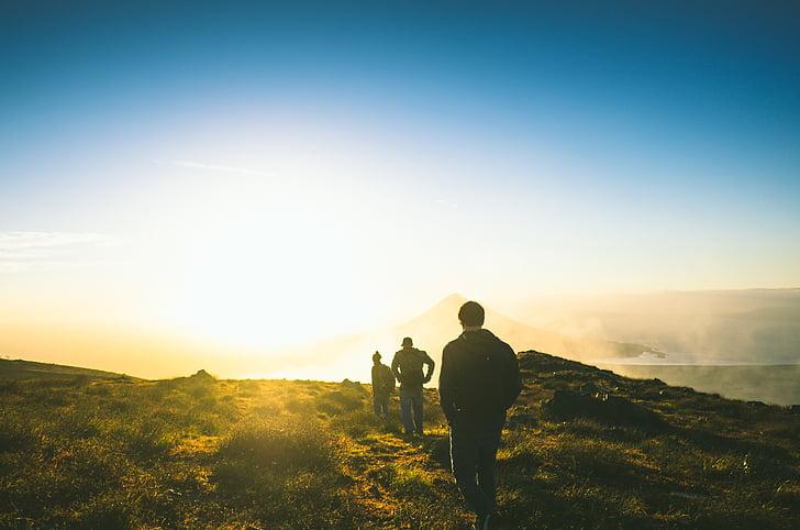 avantura, večer, trava, travnjaka, planinari, planinarenje, čovjek