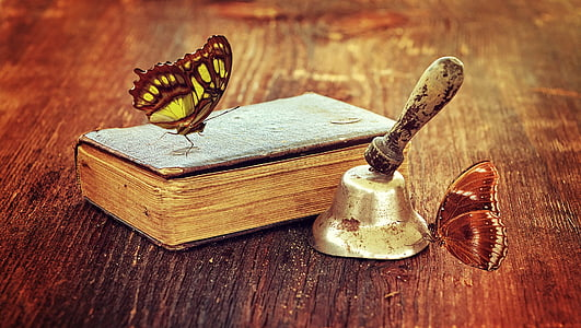 book, old book, bell, antique, old, wood, wooden table