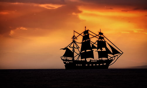 sea, lake, seafaring, sailing vessel, ship, sunset, sky