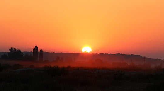 Alba, matí, la boira, paisatge, vermell
