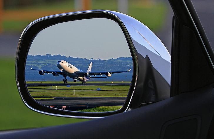 carro, lado, espelho, Apresentando, avião, aviões de passageiros, espelho traseiro