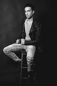 model de, blanc, negre, home, persona, cadira, blanc i negre