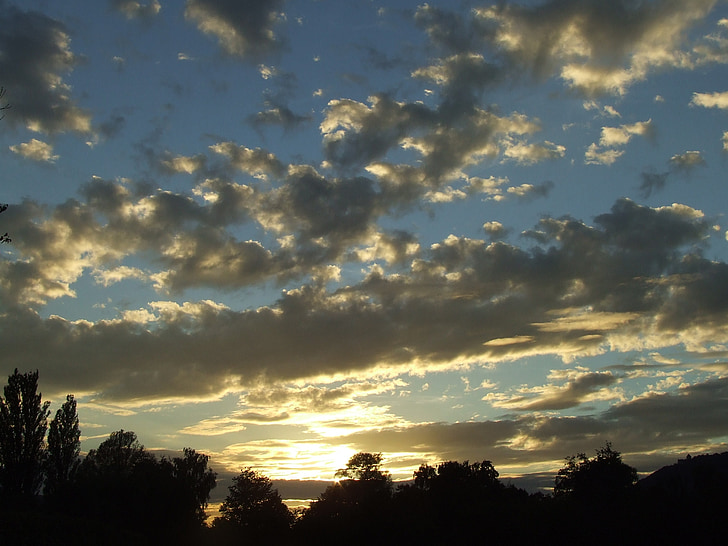 abendstimmung, Захід сонця, вечірнє небо, Сутінки, Сутінки, хмари, небо
