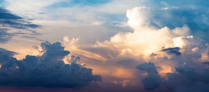 Saulėlydis, debesys, debesys, į dangų, tamsi mėlyna, oranžinė, Audra