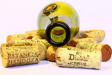 veini, korgid, pudel, tühi, kasutada, taust, kitsaskoht