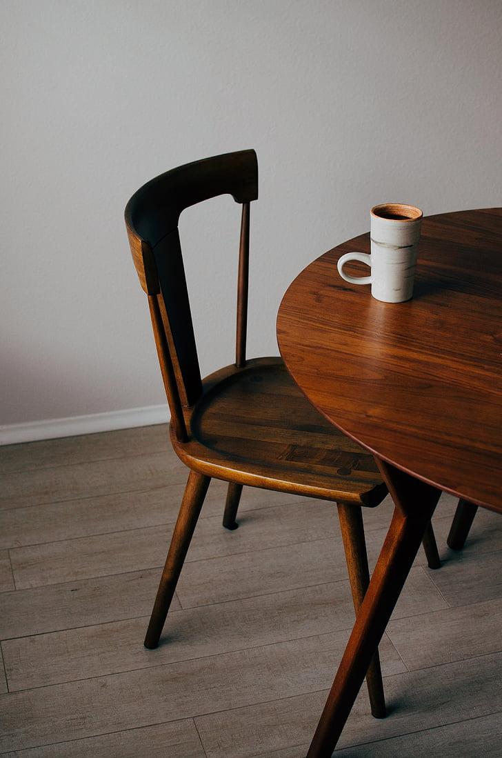 houten, stoel, tabel, Mok, Beker, koffie, Indoor