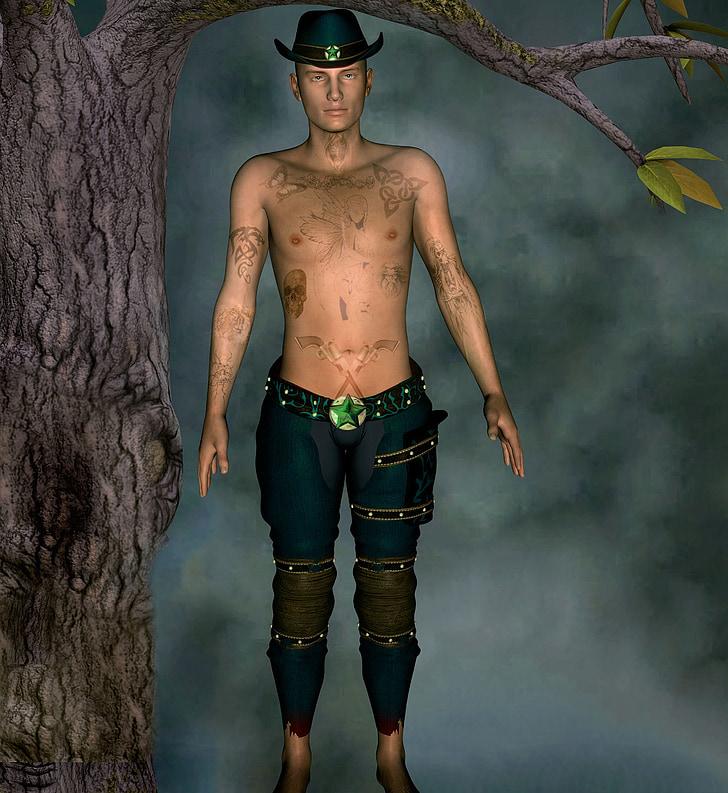 home, tatuatge, arbre, barret, estat d'ànim, registre, fantasia