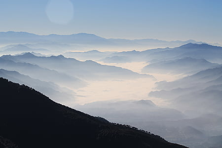 foggy, landscape, mist, mountain range, mountains, nature, scenic