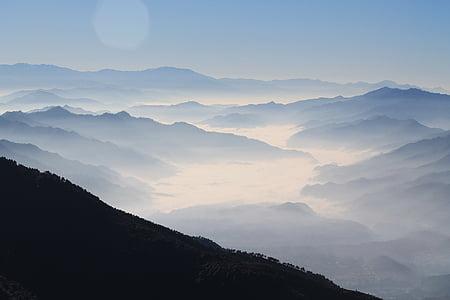 hay niebla, paisaje, niebla, gama de la montaña, montañas, naturaleza, Scenic