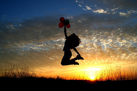 jente, solnedgang, ballonger, Tilbakesendingstestar, fly, solen, himmelen skyene