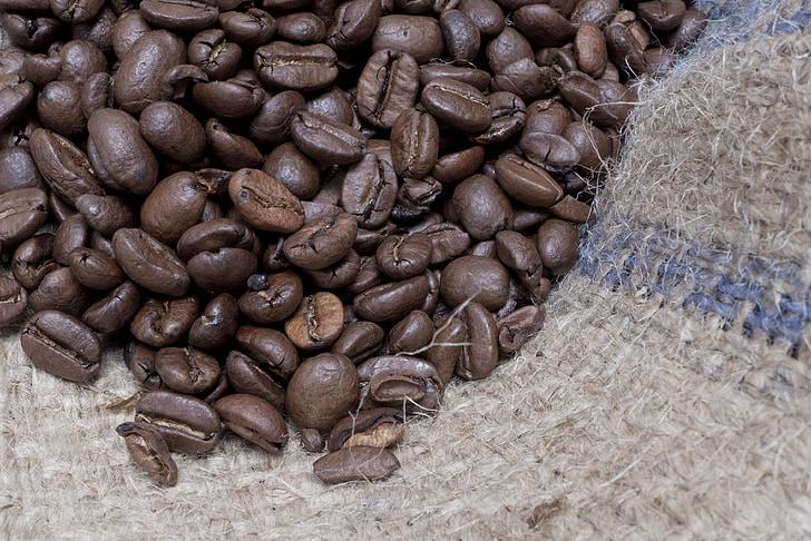 koffie, de drank, cafeïne, bruin, koffiebonen, korrels, vers
