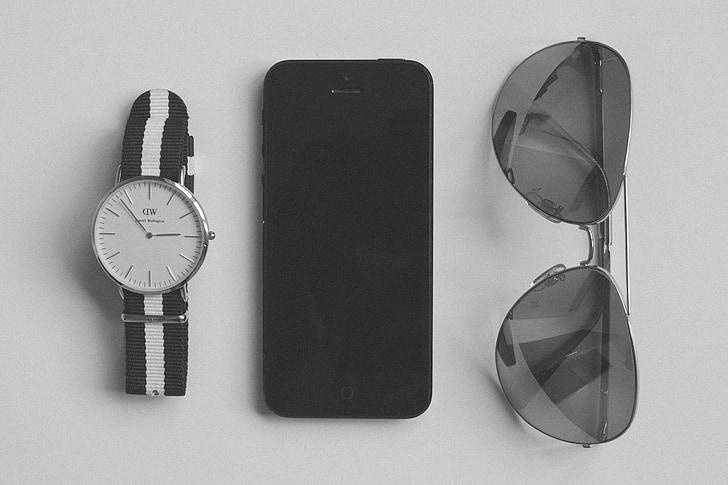 veure, ulleres de sol, accessoris, iPhone, mòbil, tecnologia, blanc i negre