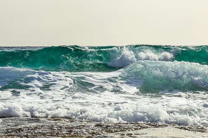 bølge, Smashing, sjøen, kysten, natur, stranden, Splash
