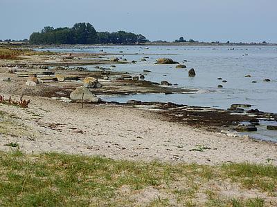 Ēlandes, Zviedrija, jūra, krasts, pludmale, akmeņi, akmeņi