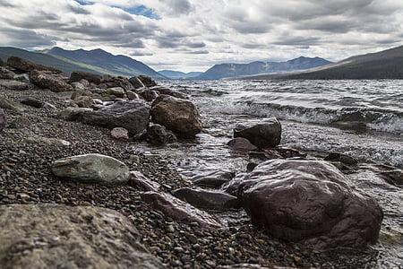 Llac mcdonald, roques, ones, riba, rocoses, platja, paisatge