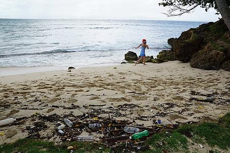 pollution, écologie, Caraïbes, garbage, plage, mer, bouteilles en plastique