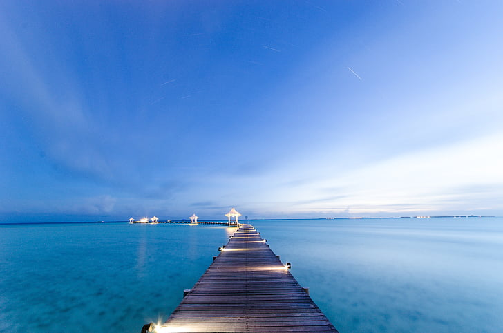 the sea, maldives, views, trestle, sea, nature, blue