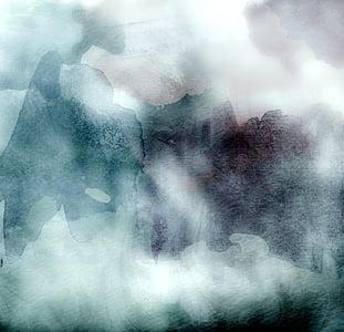 aquarel·les, Xarxet, blau, gris, fons, fosc, Art