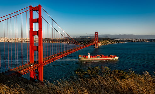 suspension, san francisco, california, barge, ship, shipping containers, travel