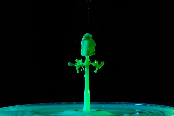 csepegtető, víz, csepp víz, víz funkció, zöld, spray, Fecskendezzünk be