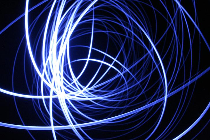luz, dibujo con luz, azul, líneas de, luces, círculos de