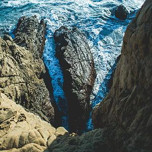 Côte, nature, océan, roches, mer, eau, images de droits