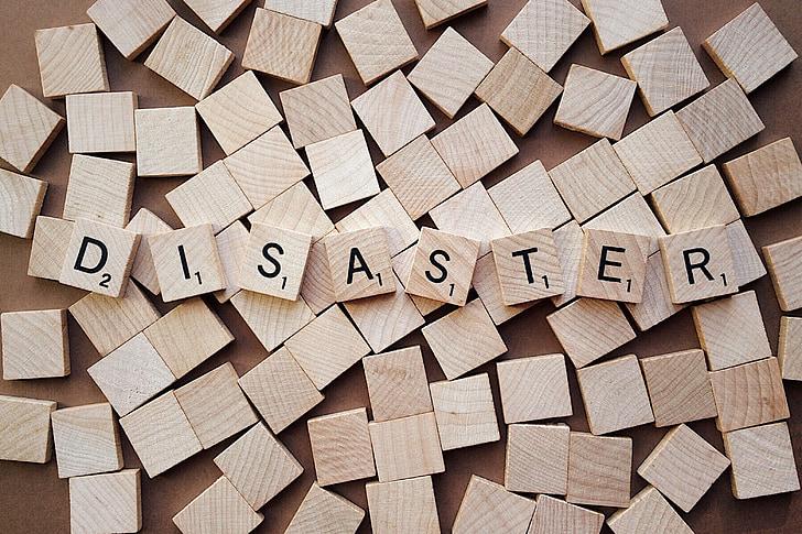 desastre, crisi, problema, lletres, Scrabble