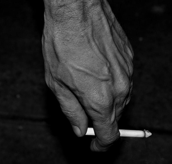 blanc i negre, mà, cigarret, mascle, fumar, mà humana, homes