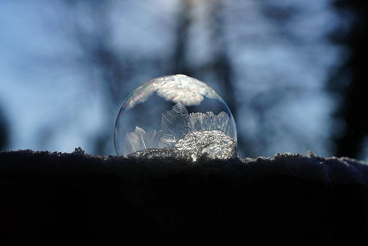 soap bubble, bubble, crystals, eiskristalle, ze, cold, back light