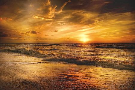 sol, Mar del nord, Mar, platja, cel, Costa, posta de sol