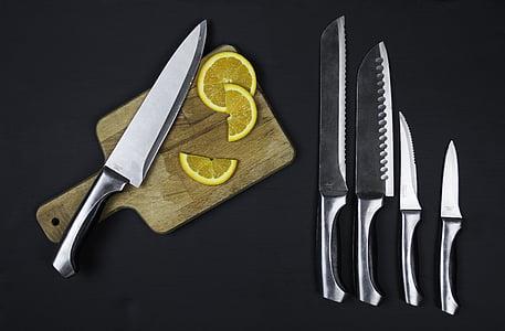 aliments, cuina, Estris de cuina, ganivet, conjunt de ganivet, taronja, no hi ha persones