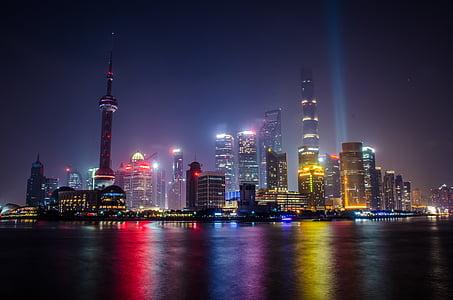 Shanghai, urbana landskap, ljus, kvällen, byggnad, Asia, stadsbild
