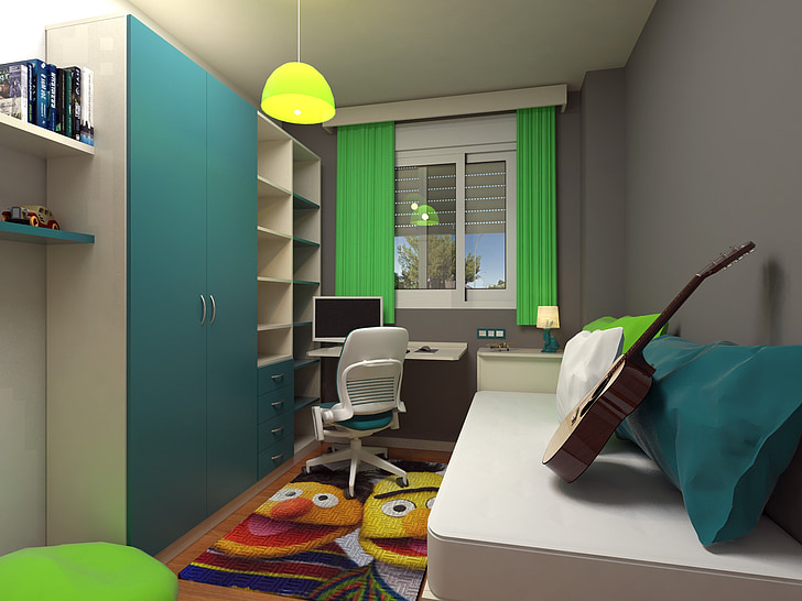 bedroom, room, youth, design, inside house, domestic Room, indoors