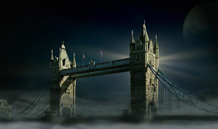 Londono Tauerio tiltas, Londonas, mėnulis, rūkas, dangus, Luna, Pilnatis