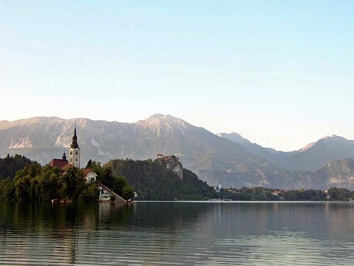 lake bled, chapel, island, karawanken, slovenia, alpine hiking, trekking
