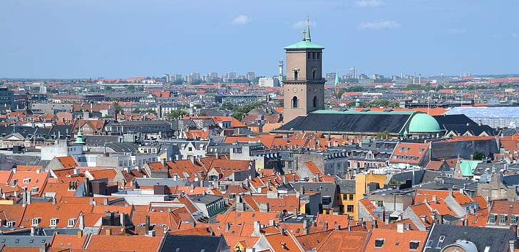 copenhagen, denmark, view, rooftops, city, day, blue sky