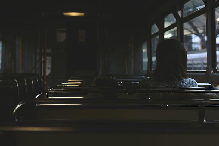persona, interior, autobús, viatge, l'interior, Pew, dia