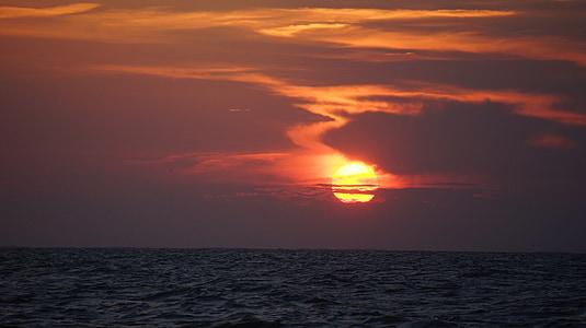 günbatımı, parlayan, Turuncu, Kırmızı, renkli, bulutlar, dramatik