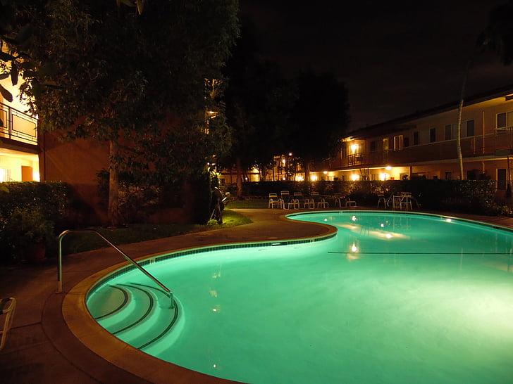 piscina, nedar de nit, Natació, l'aigua, piscina, residencial